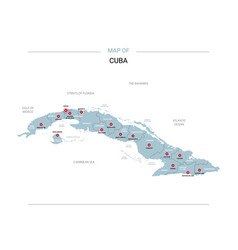 Cuba map with red pin vector