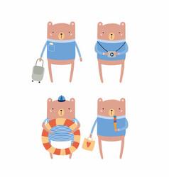 Cute bear on summer holidays vector