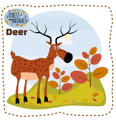 Cute cartoon deer on background landscape forest vector