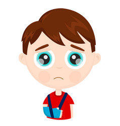 Cute sad little boy kid child with broken vector