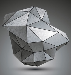 Deformed dimensional tech grayscale object 3d vector