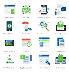Digital Marketing Flat Icon Set vector image