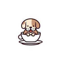 dog cup mug glass cafe logo icon vector image