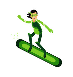 Ecological superhero woman flying on a snowboard vector