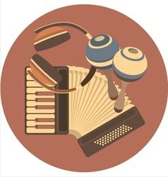 Emblem retro music in disc vector