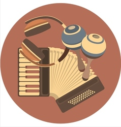emblem retro music in the disc vector image