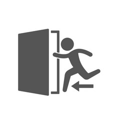 Emergency exit with human figure sign icon door vector