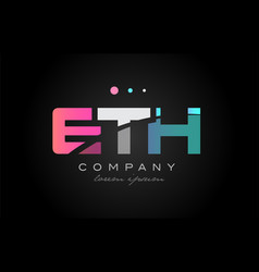 eth e t h three letter logo icon design vector image