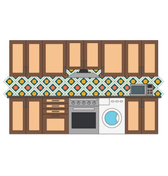 flat isolated kitchen room vector image