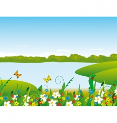 Flowers on the river bank vector