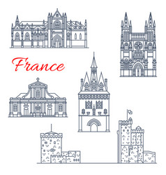 France travel bordeaux architecture icons vector