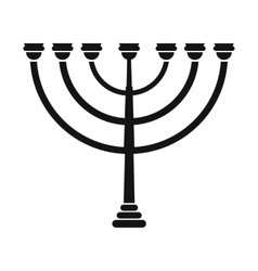 Gold hanukkah menorah simple icon vector