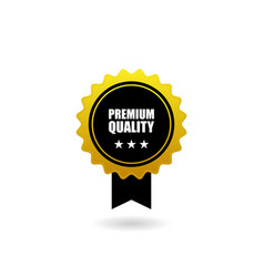 Golden badge with black ribbon vector