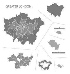 Greater london england map grey vector