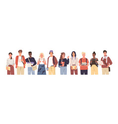 group multicultural students flat vector image