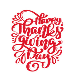 Hand drawn happy thanksgiving day text typography vector
