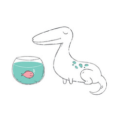 Hand drawn of a cute dino sitting near the vector
