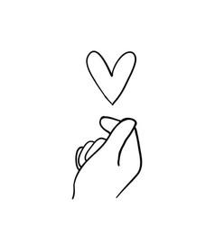 Hand gesture symbol for korean love sign vector