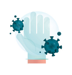 Hand with protective glove pandemic stop vector