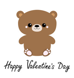 Happy valentines day grizzly brown bear toy vector