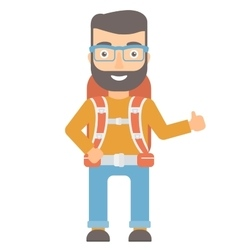 Hiker giving thumbs up vector