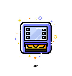 icon of atm machine for banking concept flat vector image