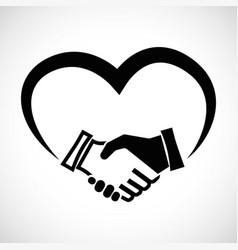 Icon shape handshake with heart vector