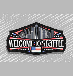 label for seattle vector image