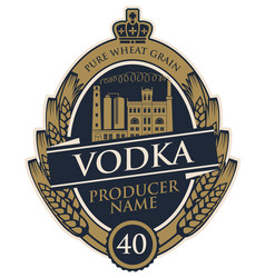 Label for vodka with distillery and wheat ears vector
