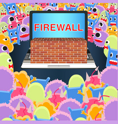laptop with firewall protect from virus computer vector image