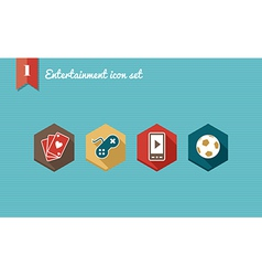 Leisure flat icons set vector