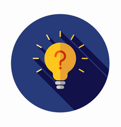 light bulb lamp icon with question mark inside vector image