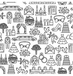 marriage and wedding ceremony seamless pattern vector image