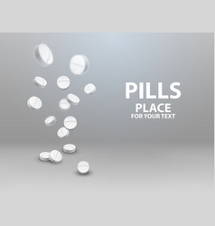 Medical pills falling down vector