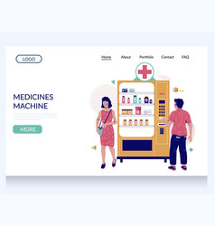medicines machine website landing page vector image