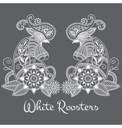 Mehendi white roosters vector
