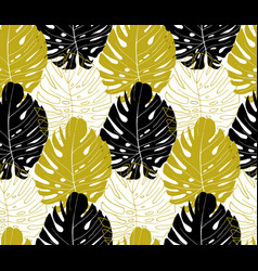 modern pattern with vertically arranged monstera vector image