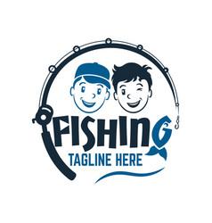 modern two fisherman friend boys logo vector image