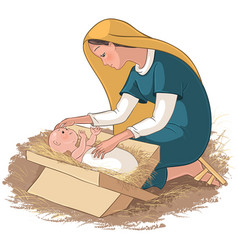 mother mary with child jesus in manger vector image