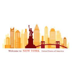new york landmarks skyline and skyscraper vector image
