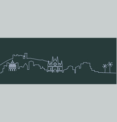 Palma de mallorca single line skyline vector