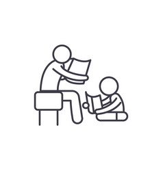 Parent reading a story to a child line icon vector