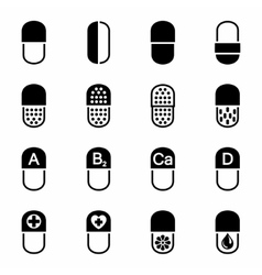 Pills icon set vector image