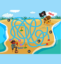 Pirate find way to treasure vector
