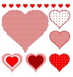 Polka dot hearts vector