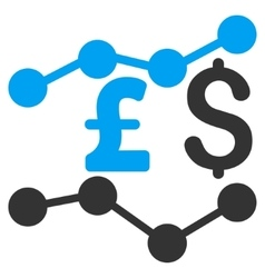 Pound and Dollar Trends Flat Icon Symbol vector image