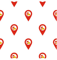 Red map pointer with fast food sign pattern flat vector