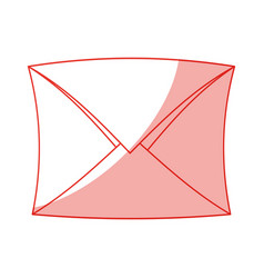 Red silhouette shading envelope mail closed vector