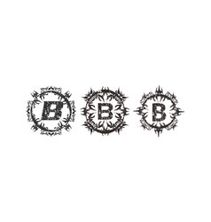 Rough letter b template set vector