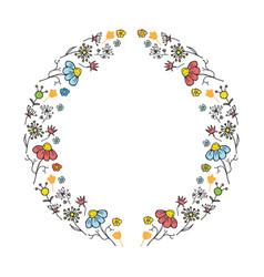 round flower frame hand drawn sketch doodles vector image